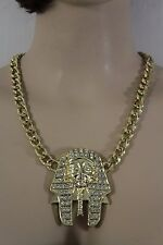 Women Gold Metal Chain Strand Fashion Necklace Jewelry Egyptian Pharaoh Charm