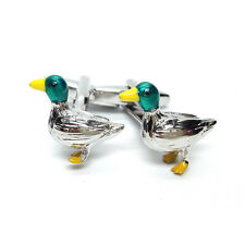 Feature Colours Rhodium Plated Duck Cufflinks & Organza Pouch