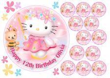 "EDIBLE HELLO KITTY 7"" ICING GIRLS PERSONALISED CAKE & CUPCAKE TOPPERS PINK"