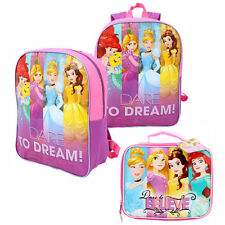 Disney Princess DARE TO BELIEVE DREAM GIRLS BACKPACK + INSULATED LUNCH BAG PINK