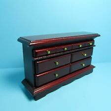 Dollhouse Miniature Wood Dresser In Mahogany~ Lots of Drawers ~ T3821