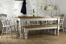 7FT SOLID OAK DINING TABLE SET BENCH CHAIRS FARMHOUSE PAINTED BESPOKE WOOD PINE