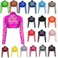 Womens Ladies Lace Cropped Long Sleeve Bolero Shrug Jacket Cardigan Top Cardi