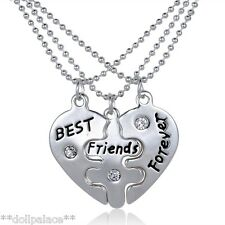 Best Friends Forever Engraved Heart Puzzle 3 Part Necklace New