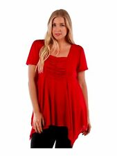 Womens RED Asym Shark Bite Hem Top Tie Backs Yummy Plus Size 3X
