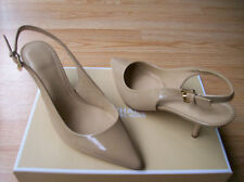 Michael Kors Kelsey Slingbacks Pumps Shoes Kitten Heels Nude Patent sz 10 NEW