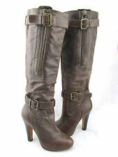 STEVEN STEVE MADDEN Entrap Brown Leather Buckle Strap Zipper Knee High Boots 6.5