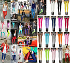 Neon Metallic Shiny Celeb Style Coloured Stretch Leggings Pants Anke Length