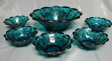 Antique Northwood Glass Berry Bowl Set. Teal Blue w/ Silver Overlay Floral Daisy