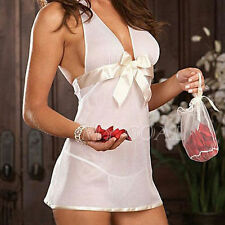 Women's Sexy Sheer Lace Babydoll Chemise Nightie & G-String Blue & White ❤Aus❤