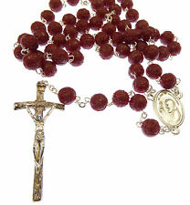Red plastic perfumed rose flower Padre Pio rosary beads in box scented papal
