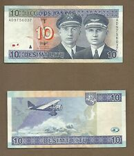 2001 Lithuania 10 Litu EF-AU Pilots & Airplane