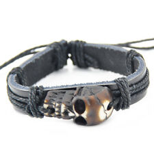 cool man Skull Pendant leather bracelet S-10