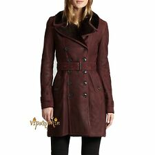 BURBERRY BRIT FEERSDALE SHEARLING TRENCH COAT $2595 DARK BLACK CURRANT NEW 4 US
