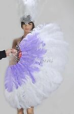 """White & Aqua Violet 2 layers Ostrich Feather Fan  30""""x 54"""" with gift box"""