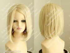 "Cos light blonde mixed short straight Heat-resistant cosplay full women""s wig"