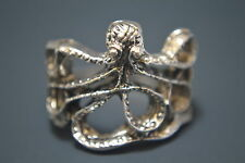 Goth Punk Biker Vintage Antique Silver Octopus Charm Ring 1.94cm XL