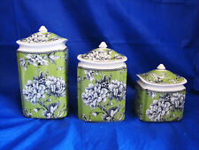 222 FIFTH Green White Adelaide Toile Bird 3pc  Porcelain Canister Set