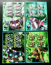 Aitutaki WWF Butterfly 2008 Insect Bug Flora Fauna Flower Worm (sheetlet) MNH
