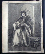 Original Ukrainian Pencil Painting Drawing Social Realism Tsar Portrait Old