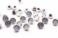 White Acrylic Shank Button Shiny Bling Bling Rose Gold Small Blouse 12mm 3pcs
