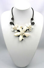 White Mother of Pearl MOP Shell FW Pearl Waxed Cotton Flower Necklace 16""