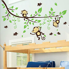Singe tree oiseaux animal nursery enfants art mural stickers wall decals 32
