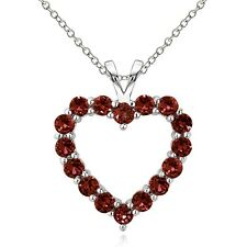 925 Sterling Silver 2ct TGW Garnet Open Heart Necklace