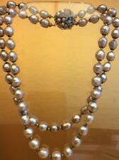 Vintage Miriam Haskell 2-strand Baroque Peal Necklace,Ornate Clasp,c.1950,marked