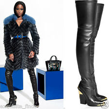 New Versace Black Leather Thigh Boots 37 - 7