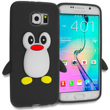 For Samsung Galaxy S6 Silicone Penguin Cute Soft 3D Design Case Cover Black