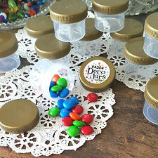 30 Plastic Jars 1oz Containers Gold Caps Party Favors candy nuts DecoJars 4304 *