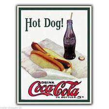 SIGNAL MÉTALLIQUE PLAQUE MURALE HOT DOG BOISSON Coca Cola Vintage Rétro affiche