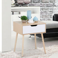 Walnut Bedside Table Solid Wood Legs Nightstand with White Storage Drawer