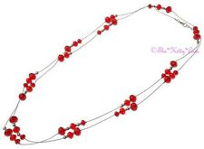 Quality Deco Burlesque Chic Long Red Heavy Czech Glass Beaded Flapper Necklace