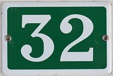 Green French house number 32 door gate plate plaque enamel steel metal sign