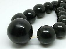 Antique Victorian Estate Carved Huge Bead Whitby Jet Bead Mourning Necklace 68g