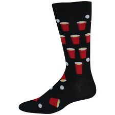 K. Bell Men's Socks Beer Pong Crew Black 10-13