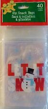 New CHRISTMAS CELLO PARTY GIFT BAGS TREAT BAGS 40 Ct. Zip Snack ~ Let It Snow
