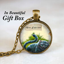 Alice In Wonderland Cheshire Cat We're All Mad Bronze Chain Pendant Necklace