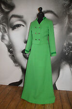 VINTAGE GREEN MAXI SKIRT JACKET SUIT PARTY XMAS WOOL BOUCLE COCO EVENING