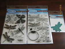 Prickley Pear Dragonfly 1 & 2 Clear Sets Plus Dies! ****Free Ship!*
