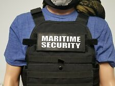 "3x8"" MARITIME SECURITY Black Morale Hook Backed Plate Carrier Morale Patch"