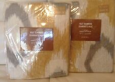 West Elm 2 Ikat Diamond Cotton Cnvas Curtains Horseradish & Grey Two (2) 48x63