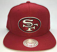 San Francisco SF 49ers NFL Mitchell & Ness Red Snapback Hat/Cap - New