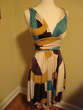 TAN BROWN NUDE  AQUA BLUE LOW CUT SEXY WIGGLE DRESS WOMENS BY PEPPER SIZE SMALL