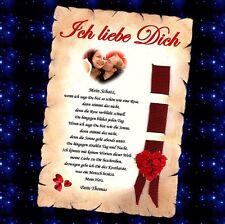 LIEBESBRIEF GESCHENK Urkunde Valentin Valentinstag in Silber / Gold mit Foto