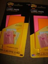 POST-IT LABEL SUPER STICY FULL ADHESIVE LABEL PADS LOT OF 2