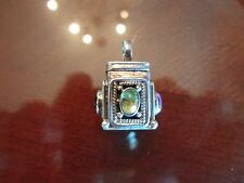 VINTAGE STERLING SILVER PRAYER BOX OR PILL BOX PENDANT WITH 3 STONES-925-