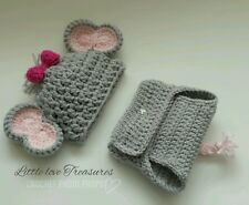 NEW Newborn Baby Girl pink Elephant Hat and Diaper Cover Crochet photo prop Gift
